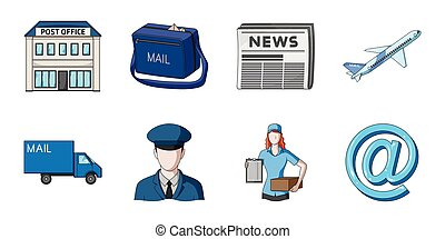Mail and postman icons in set collection for design. Mail and equipment vector symbol stock web illustration.