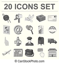 Mail and postman monochrome icons in set collection for design. Mail and equipment vector symbol stock web illustration.