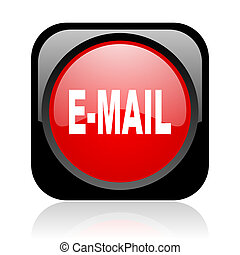 mail black and red square web glossy icon