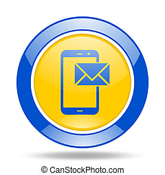 mail blue and yellow web glossy round icon