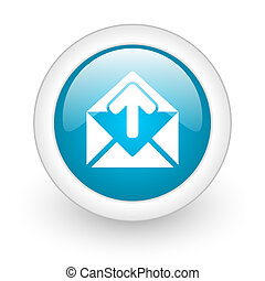 mail blue circle glossy web icon on white background