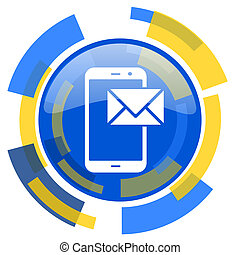 mail blue yellow glossy web icon