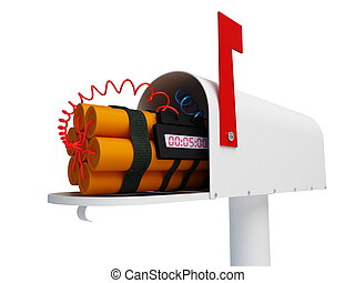 mail bomb on a white background