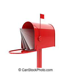 Mail box - 3d illustration of opened red mailbox with...