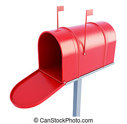 Mail box at the front on a white background. 3d rendering