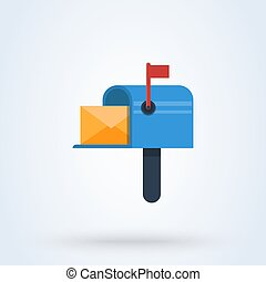 Mail box flat style. Vector illustration isolated on white background.