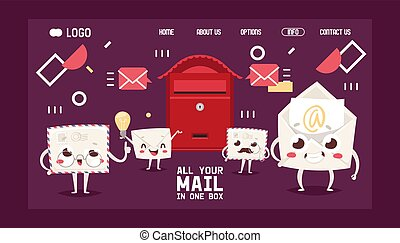 Mail box letter cartoon characters envelope vector landing ...