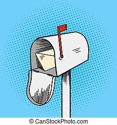 Mail box pop art style vector illustration