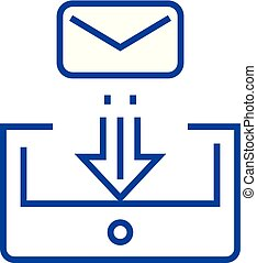 Mail box post line icon concept. Mail box post flat vector symbol, sign, outline illustration.