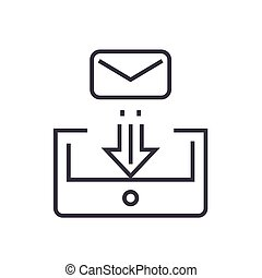 mail box post linear icon, sign, symbol, vector on isolated background
