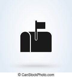mail box symbol flat style. Vector illustration icon isolated on white background.