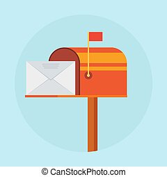 Mail box vector illustration in the flat style.