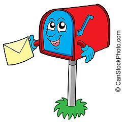 Mail box with letter - isolated illustration.