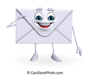 Mail Character is Salute - Cartoon Character of mail is...