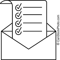 Mail checklist icon, outline style