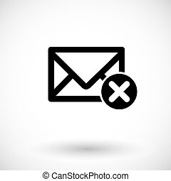 Mail close flat vector icon - Mail icon, envelope with close...