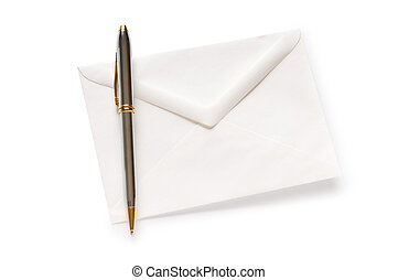 Mail concept with envelope isolated on the white