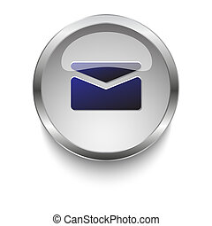 Mail dark blue vector icon on a glossy glass button with chrome on white background