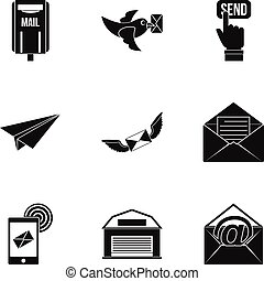 Mail delivery icons set, simple style