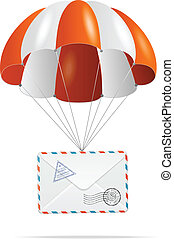 Mail delivery. Parachute. - parachute with mail on a white