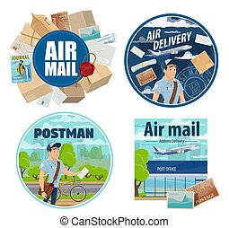 Mail delivery, postman and post parcels