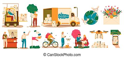 Mail delivery service, courier with parcel and postman with letter, vector illustration