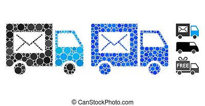 Mail Delivery Van Mosaic Icon of Spheric Items - Mail ...