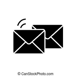 mail - email - envelope icon, vector illustration, black sign on isolated background