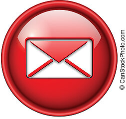 Mail, email icon, button, 3d red glossy circle.