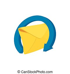 Mail envelope and blue circular arrow icon