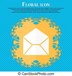 Mail, envelope icon. Floral flat design on a blue abstract background with place for your text. Vector
