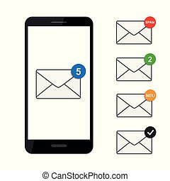mail envelope icon in a black smartphone