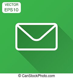 Mail envelope icon in flat style. Receive email letter spam vector illustration with long shadow. Mail communication business concept.