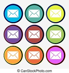 Mail, envelope icon sign. Nine multi colored round buttons. Vector