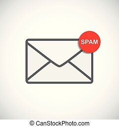mail envelope icon with spam message
