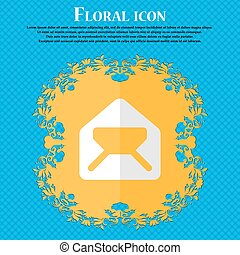 Mail, envelope, letter. Floral flat design on a blue abstract background with place for your text. Vector