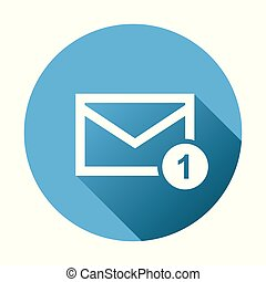 Mail envelope message. Vector illustration in flat style on round blue background.