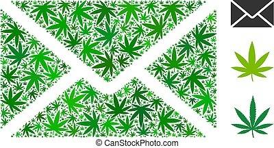 Mail Envelope Mosaic of Weed Leaves