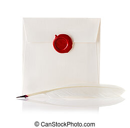mail envelope or letter sealed with wax seal stamp and quill pen isolated on white
