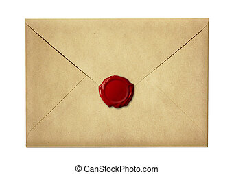 mail envelope or letter sealed with wax seal stamp isolated...