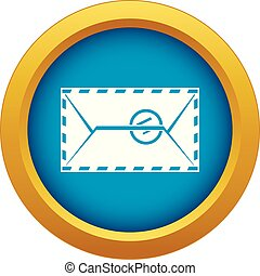 Mail envelope with a stamp icon blue vector isolated