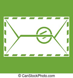 Mail envelope with a stamp icon green