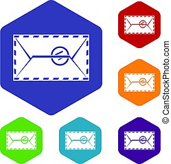 Mail envelope with a stamp icons set hexagon