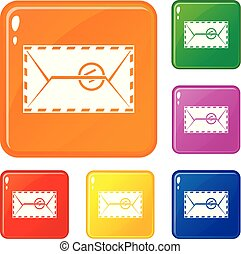 Mail envelope with a stamp icons set vector color