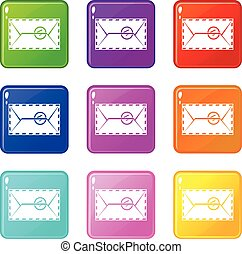 Mail envelope with a stamp set 9