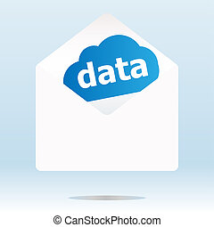 mail envelope with data word on blue cloud
