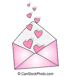 mail envelope with hearts. vector illustration.