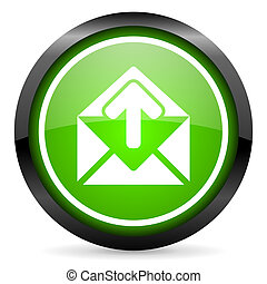 mail green glossy icon on white background
