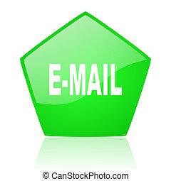 mail green pentagon web glossy icon