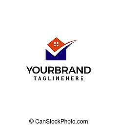 mail house logo design concept template vector